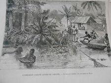 Gravure 1874 - Anglais contre les Ashantis Un village sur les bord du Prah