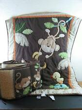 MONKEY BUSINESS Baby Quilt Comforter & Bumper Pads Crib Set Just Born EUC