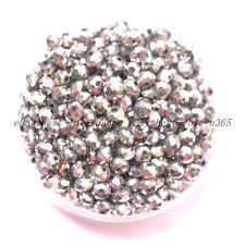 100Pcs Metallic Silver AB2X Czech Crystal Faceted Rondelle Spacer Beads 4MM