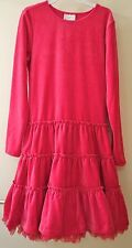 New W/Tag Hanna Andersson Cerise/Pink Velour W/Tulle Trim Dress ~Sz 150, 11-13yr