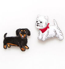 Westie & Dachshund Dax Dog Embroidered Applique Iron On Patches - Sew Craft Gift