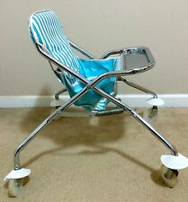 1950s Vintage TAYLOR TOT BABY ROLLING HIGH CHAIR - Blue/White - RARE