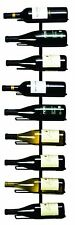 Black Wall Mount Wine Rack 9 Bottle Storage Wrought Iron Vertical Home Display
