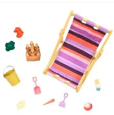 "American Our Generation 18"" Girl Doll BEACH DAY, Chair Camping ACCESSORY SET Lea"