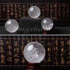 Natural Clear Quartz Crystal Rainbow Sphere Ball Healing Gemstone 35-40mm +Stand
