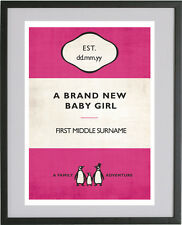 Vintage Penguin Book Style New BABY GIRL Personalised  poster print
