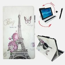 10.1 inch Flip Case For Fujitsu Stylistic Q550 Tablet - 360 Paris Flower