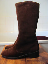 Morlands of England vintage suede boots ~fleece lined mid-calf length ~size UK 5