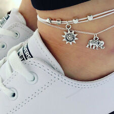 Hot Men Silver Charm Elephant Pendant Chain Anklet Foot Chain Jewelry For Unisex
