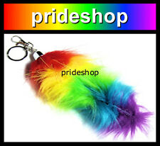 Rainbow Fox Tail Faux Fur SMALL Key Chain Ring Costume Lesbian Gay Pride #6