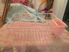 GORGEOUS VINTAGE PINK DISH DRAINER PLASTIC COATED WIRE