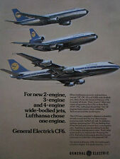 7/1975 PUB GENERAL ELECTRIC CF6 ENGINE AIRBUS A300 DC-10 BOEING 747 LUFTHANSA AD