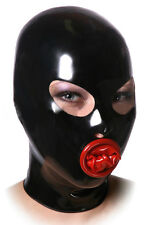 Erotic latex mask with oral shealth, gummy hood with condom (optional colors)