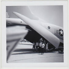 Square Vintage b&w 60s PHOTO Close Up Airplane w/ People Travelers