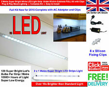 2 Metre Super Bright White LED Light Strip Under Kitchen Cabinets FULL Kit 2015