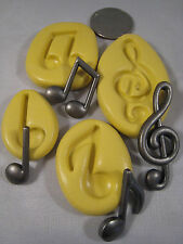 Musical Notes Silicone Mold set of 4 Gumpaste Fondant isomalt polymer clay  #304