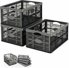 32L PLASTIC FOLDING STORAGE CONTAINER BASKET CRATE BOX STACK EASY FOLD ABLE FLAT