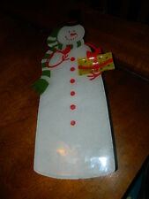 Glass snowman tray cutting board cheese serving plate snack Christmas table