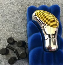 MAXSPEED SHIFT KNOB YELLOW/CHROME  FOR MANUAL TRANSMISSION UNIVERSAL
