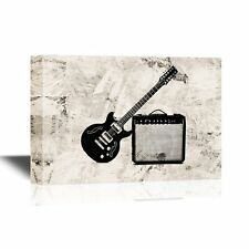 wall26 - Canvas Wall Art - Electric Guitar Leaning on a Small Amplifier - 12x18