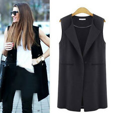Womens Sleeveless Lapel Waistcoat Long Cardigan Coat Pocket Jacket Outwear Gilet