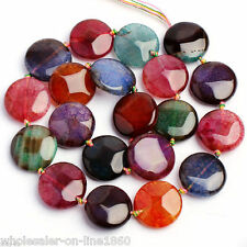 """18X18MM SMOOTH FLAT MULTI-COLOR CRACKED AGATE COIN LOOSE GEMSTONE BEADS 15"""" AAA"""
