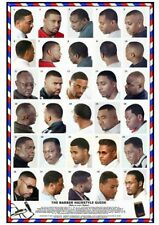 06BLKM Large Format Laminated Barber Poster African American Men Haircuts