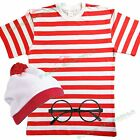 Mens Red White Costume Outfit Fancy Dress Wheres Book Week TSHIRT HAT & GLASSES