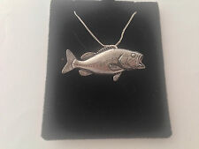 F20 Largemouth Bass on a 925 sterling silver Necklace Handmade 26 inch chain