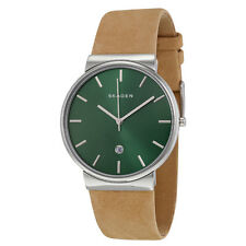 Skagen Ancher Green Dial Brown Leather Mens Watch SKW6183