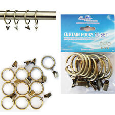 Curtain Pole Rings 10 x Metal BRASS Holder with Hooks Rail Bracket Rod Rings