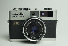 Minolta HI-MATIC F SILVER 35mm Film Camera ROKKOR 38mm f/2.7 Lens Made in Japan