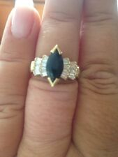 ESTATE SAPPHIRE RING WITH DIAMONDS IN 14K GOLD  ! GORGEOUS !