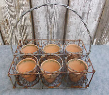 VINTAGE WIRE SEED STARTER BASKET WITH 6 CLAY POTS HOME GARDEN DECOR