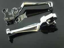 Chrome Skull Adjustable Brake Clutch Levers For 96-13 Harley Dyna Electra Glide