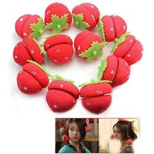 12pcs Women Girls Strawberry Balls Hair Care Soft Sponge Rollers Curlers Tool LA