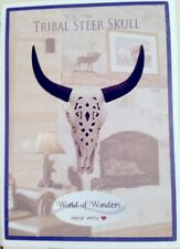 DWK TRIBAL STEER SKULL ~ FLUSH WALL MOUNT BULL CATTLE ~ WALL DECOR ~ DECORATIVE