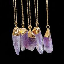 Fashion Unisex Irregular Necklace Natural Crystal Quartz Stone Gemstone Pendant