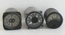 LOT of 3 Vintage Aircraft Indicators - Ampermeter Voltmeter Temperature