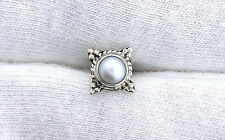 One Single 4mm Round Pearl Sterling Silver Cabochon Cab Gemstone Stud Earring