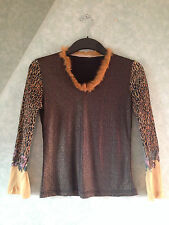 New Tags Ladies Women's Top Shirt Blouse Leopard Skin Glitter Top Size Small S