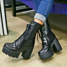 Womens Punk Chunky Block Heel Platform Hot New Lace Up Ankle Boots Shoes Plus Sz