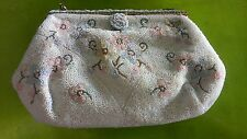 VINTAGE FRANCE FRENCH Ed B Robinson FLOWERED MICRO BEADED  EVENING  BAG PURSE