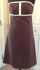 New Alfred Sung Size 12 Short Satin Formal Dress in Espresso Brown Style D410