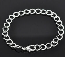 NEW Silver Plated Lobster Clasp Clip On Charm Bead Link Chain Bracelet 20cm