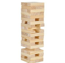 "MINI WOOD TOWER STACKING BLOCKS WOODEN GAME 6"" HIGH PARTY FUN ACTIVITY FAVOR"