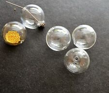5 Glass Hollow Blown Globe Beads 20mm Empty Balls