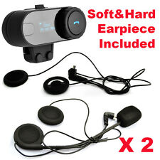 2PC TCOM-SC W/Screen Bluetooth Motorbike Helmet Intercom Headset+Soft Earpiece