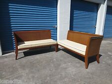 Pair Settee Cane Sofa L Sectional Couch Living room Loveseat Bench MCM 2 Regency