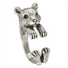Adjustable Hamster Koala Ring Silver Women's Girl's Retro-Rings For men
